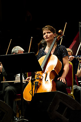 © Copyright licensed to London News Pictures. 18.10/2010. Caroline Dale, cello soloist, onstage at the Royal Albert Hall. Musicians and composers from the world of film gather for Concert for Care, Royal Albert Hall, London.