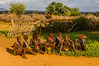 A group of Hamer tribe women and girls in their village, Omo Valley, Ethiopia.