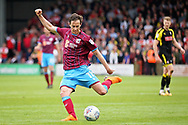 Scunthorpe United's Josh Morris (11) gets in a shot  during the EFL Sky Bet League 1 match between Scunthorpe United and Rotherham United at Glanford Park, Scunthorpe, England on 12 May 2018. Picture by Nigel Cole.