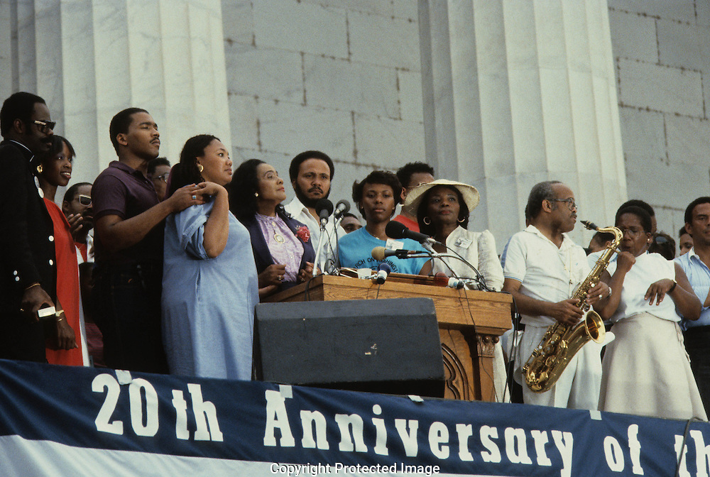 The Martin Luther King Jr. family and others on the steps of the Lincoln Memorial at the March on Washington in August 27, 1983--the twentieth anniversary of the March on Washington in 1963...Photograph by Dennis Brack bb23