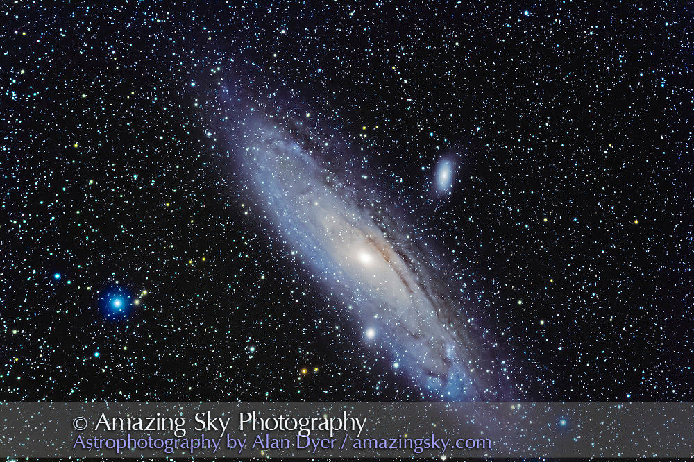 A test image of M31 taken for a book illustration using an entry-level deep sky setup to show what's possible. This was with the SharpStar 76mm EDPH apo refractor on the Sky-Watcher EQM-35 mount, and guided with the ASIAir Pro and guidescope and the iPad app. The setup costs about $3000, about the minimum for a good deep sky rig for shooting with a telescope.  This is a stack of 16 x 4 minute exposures with the Canon 60Da and with LENR on for all frames, so 64 minutes of actual images but an equal number of dark frames subtracted in the camera over 2 hours total of shooting. Taken Sept 16, 2020 under clear but smoky skies. All stacking, alignment and processing with Photoshop with Raw files developed in Adobe Camera Raw.