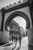 Aorund the city gates to the medina in Meknes, Morocco.
