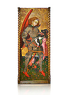 Gothic altarpiece of Archangel Michael ( Sant Miguel Arcangel) by Blasco de Branen of Saragossa, circa 1435-1445 , tempera and gold leaf on for wood.  National Museum of Catalan Art, Barcelona, Spain, inv no: MNAC   114741. Against a white background. . .<br /> <br /> If you prefer you can also buy from our ALAMY PHOTO LIBRARY  Collection visit : https://www.alamy.com/portfolio/paul-williams-funkystock/gothic-art-antiquities.html  Type -     MANAC    - into the LOWER SEARCH WITHIN GALLERY box. Refine search by adding background colour, place, museum etc<br /> <br /> Visit our MEDIEVAL GOTHIC ART PHOTO COLLECTIONS for more   photos  to download or buy as prints https://funkystock.photoshelter.com/gallery-collection/Medieval-Gothic-Art-Antiquities-Historic-Sites-Pictures-Images-of/C0000gZ8POl_DCqE
