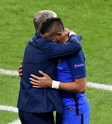 France Manager Didier Deschamps embraces an emotional Dimitri Payet of France, who was replaced after scoring the winning goal  - Mandatory by-line: Joe Meredith/JMP - 10/06/2016 - FOOTBALL - Stade de France - Paris, France - France v Romania - UEFA European Championship Group A