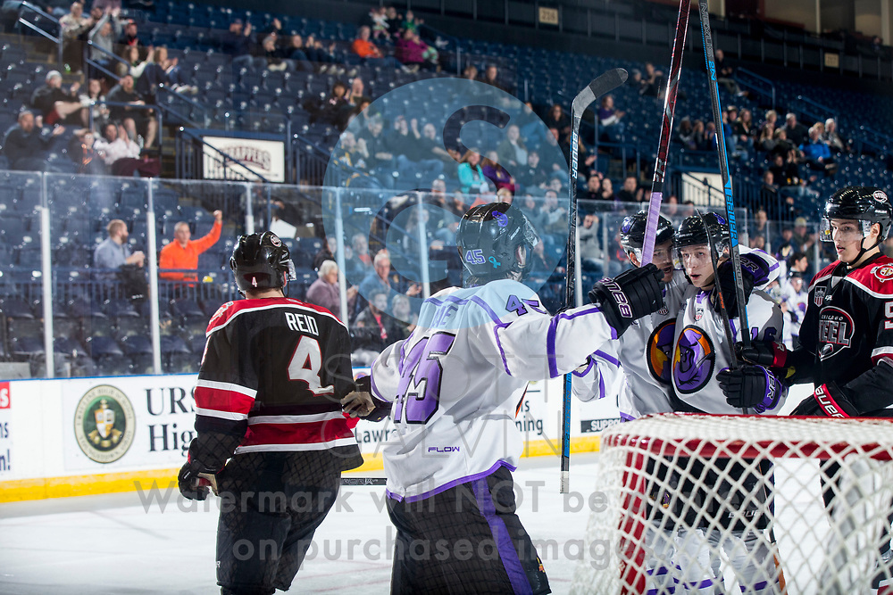 The Youngstown Phantoms lose 7-2 to the Chicago Steel at the Covelli Centre on Saturday, Dec. 15, 2018.<br /> <br /> Joseph Abate, forward, 45; Trevor Kuntar, forward, 16