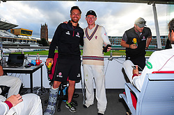 Chris Rogers of Somerset , who retired today poses for photo with James Hildreth.   - Mandatory by-line: Alex Davidson/JMP - 22/09/2016 - CRICKET - Cooper Associates County Ground - Taunton, United Kingdom - Somerset v Nottinghamshire - Specsavers County Championship Division One
