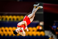 October 29, 2018 - Doha, Qatar - Chaopan Lin of China   during  Floor, Team final for Men at the Aspire Dome in Doha, Qatar, Artistic FIG Gymnastics World Championships on October 29, 2018. (Credit Image: © Ulrik Pedersen/NurPhoto via ZUMA Press)