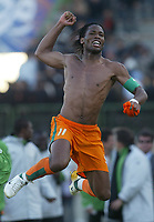 Fotball<br /> Foto: Dppi/Digitalsport<br /> NORWAY ONLY<br /> <br /> FOOTBALL - AFRICAN CUP OF NATIONS 2006  - 1/2 FINAL - 060207 - NIGERIA v IVORY COAST / ELFENBENSKYSTEN - JOY DIDIER DROGBA (CIV) AT THE END OF THE MATCH