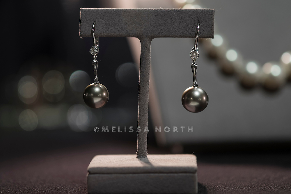 A pair of gray south sea cultured pearl and diamond ear pendants, Elsa peretti for Tiffany & Co.1996, est £3,300 - 4,600, at a preview of the auction highlights from the Estate of Lauren Bacall, at Bonhams, London, UK on 13th February 2015. The preview of 50 selected lots features works by Henry Moore, David Hockney, Robert Graham, Noel Coward and Jim Dine - and is due to be auctioned at Bonhams New York on 31 March and 1 April 2015.
