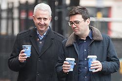"© Licensed to London News Pictures. Manchester , UK . FILE PICTURE DATED 07/01/2017 of IVAN LEWIS MP and ANDY BURNHAM carrying Caffe Nero coffees when arriving for a campaign launch event for Andy Burnham's candidacy of Mayor of Greater Manchester, at the Mechanics' Institute in Manchester. Mr Burnham wrote on twitter "" Bit bizarre hearing these right-wing calls for a 'Barista Visa'. God forbid the idea of waiting longer in the morning for their posh coffee "". Photo credit: Joel Goodman/LNP"