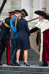 © London News Pictures. 13/03/2015. Catherine Duchess of Cambridge and Prince William arrive at a service of commemoration to mark the end of combat operations in Afghanistan, at St Paul's Cathedral in London. Photo credit: Ben Cawthra/LNP