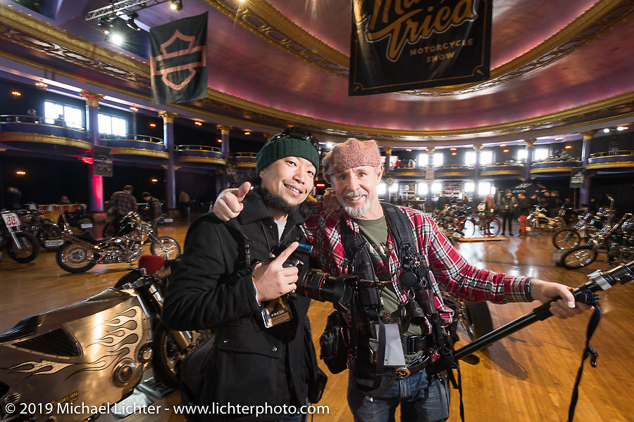 Photographers Kazuo Matsumoto and Michael Lichter at the Mama Tried Show. Milwaukee, WI. USA. Sunday February 25, 2018. Photography ©2018 Michael Lichter.