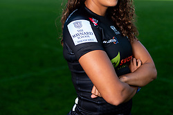 Featured The Maynard School ; Garnet MacKinder models the new Exeter Chiefs Women's shirt with their new sponsors on ahead of their 2020/21 Season - Mandatory by-line: Ryan Hiscott/JMP - 17/09/2020 - RUGBY - Sandy Park - Exeter, England - Exeter Chiefs Women - Shirt Sponsors Evening