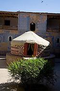 TASH KAULI PALACE   COURTROOM with yurt inside the old city  KHIVA  Ouzbekistan  .///.TASH KAULI PALACE. yourte cour.dans la vielle ville  KHIVA  Ouzbekistan .///.OUZB56326