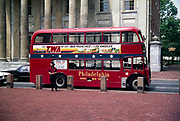 Red London double decker bus used for city sightseeing tours, Philadelphia, Pennsylvania, USA in 1976