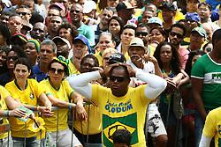 June 22, 2018 - Salvador, Brazil - SALVADOR, BA - 22.06.2018: TORCIDA DO BRASIL EM SALVADOR - Fans in the Olodum crowd in Pelourinho, in Salvador, Bahia, during a game between Brazil and Costa Rica, valid for the 2018 World Cup in Russia. (Credit Image: © Mauro Akin Nassor/Fotoarena via ZUMA Press)