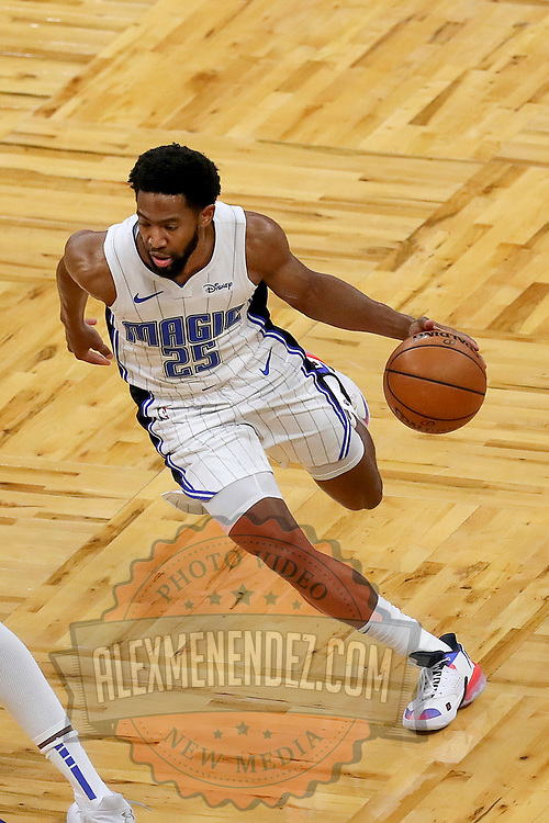 ORLANDO, FL - FEBRUARY 17:  Chasson Randle #25 of the Orlando Magic dribbles the ball against the New York Knicks at Amway Center on February 17, 2021 in Orlando, Florida. NOTE TO USER: User expressly acknowledges and agrees that, by downloading and or using this photograph, User is consenting to the terms and conditions of the Getty Images License Agreement. (Photo by Alex Menendez/Getty Images)*** Local Caption *** Chasson Randle