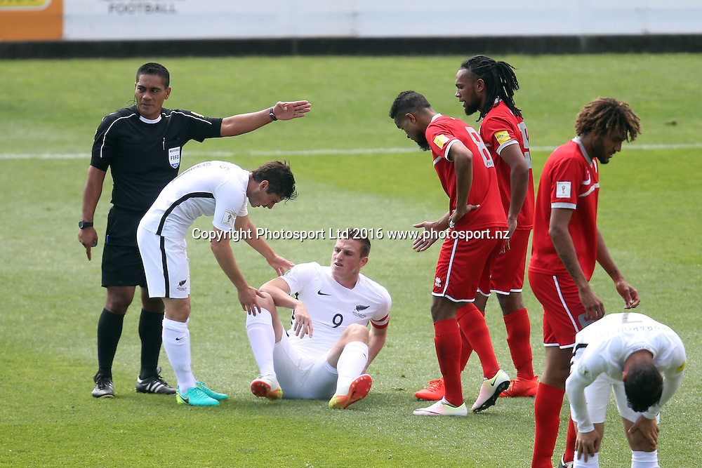 All Whites Chris Wood takes a knock. 2018 FIFA World Cup Russia Qualifier, New Zealand v New Caledonia, QBE Stadium Auckland, Saturday 12th November 2016. Copyright Photo: Shane Wenzlick
