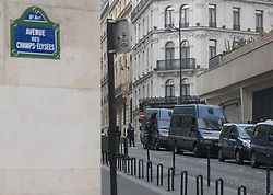 March 23, 2019 - Paris, France - Saturday, March 23, 2019, a week after the violent clashes and the many degrades committed on the Champs-Elysees on the occasion of Act 18 of the Yellow Vests, the new Prefect of Police in Paris Didier Lallement has banned all demonstrations related with the movement as it organizes its 19th mobilization Saturday in the capital.To protect the sector, many police and gendarmerie forces are mobilized on the avenue and carry out bag checks of people wishing to go there. (Credit Image: © Estelle Ruiz/NurPhoto via ZUMA Press)