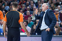 Real Madrid coach Pablo Laso talking with the referee during Turkish Airlines Euroleague match between Real Madrid and Baskonia Vitoria at Wizink Center in Madrid, Spain. January 17, 2018. (ALTERPHOTOS/Borja B.Hojas)