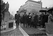 16/04/1966<br /> 04/16/1966<br /> 16 April 1966<br /> Unveiling of Thomas Davis Memorial at College Green, Dublin. The design by Irish sculptor Edward Delaney took the form of a statue fronted by a futuristic fountain on a cobblestone plinth. Picture shows Minister for Finance, Mr. Jack Lynch T.D. and President Eamon de Valera leaving the plinth after the ceremony.