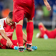 BARCELONA, SPAIN - August 18:  Sergio Reguilon #23 of Sevilla exhausted at the end of the game during the Espanyol V  Sevilla FC, La Liga regular season match at RCDE Stadium on August 18th 2019 in Barcelona, Spain. (Photo by Tim Clayton/Corbis via Getty Images)