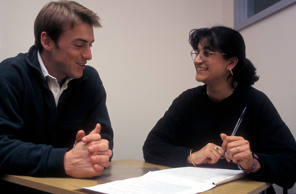 Mature student with tutor at the University of Westminster,