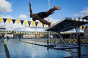 Senior Tan Nguyen dives off the starting block during the swim meet against Newark Memorial at Milpitas High School in Milpitas, California, on February 27, 2015. (Stan Olszewski/SOSKIphoto)