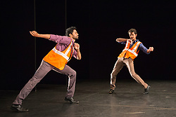 © Licensed to London News Pictures. 21/10/2015. London, UK. The duet NH7 by Bangalore-born Deepak Kurki Shivaswamy is performed by dancers Charan C S (right) and Amaresha Kempanna (left). Dance Umbrella presents Out of India: Modern Moves at the Pit Theatre, Barbican Centre, from 21 to 24 October 2015. Photo credit: Bettina Strenske/LNP