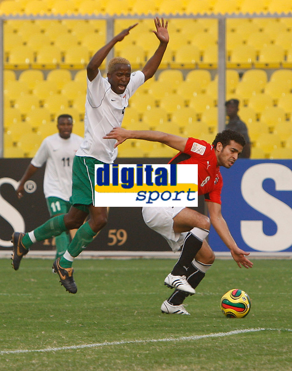 Photo: Steve Bond/Richard Lane Photography.<br /> Egypt v Zambia. Africa Cup of Nations. 30/01/2008. no way through for Joseph Musonda (L) with Ibrahim Said (R) blocking his way