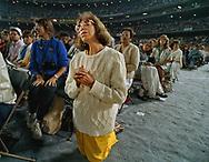 Pope John Paul II made his historic tour to the United States, September 10-18, 1987, visiting Miami, Florida; Columbia, SC; New Orleans, LA; San Antonio, TX, Phoenix, AZ, Los Angeles, CA; Monterrey, CA, San Francisco, CA, and Detroit, MI. <br /> <br /> Prayer in Dodger stadium.