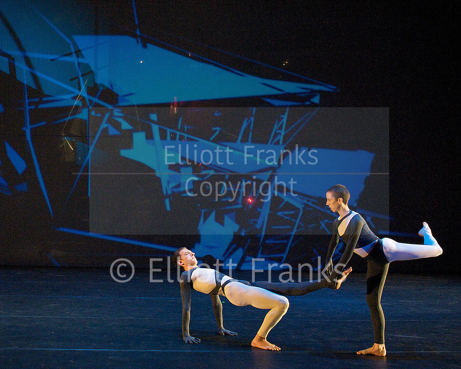 Nearly Ninety<br /> The Merce Cunningham Dance Company <br /> choreography by Merce Cunningham<br /> at The Barbican Theatre, London, Great Britain <br /> rehesrsal <br /> 26th October 2010 <br /> <br /> <br /> Daniel Madoff<br /> Julie Cunningham <br /> <br /> <br /> <br /> Photograph by Elliott Franks<br /> 2010©Elliott Franks