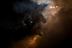 16.01.2016, Madrid, San Bartolome de Pinares, ESP, Las Luminarias de San Anton, im Bild am Vorabend des Sankt-Antonius-Festes (Las Luminarias de San Anton) treibt ein Mann sein Pferd durch das Feuer. Der heilige Antonius ist der Schutzpatron der Tiere // A horse man waits for the beginning of Las Luminarias celebration, as part of a ritual in honor of Saint Anthony the Abbot, the patron saint of domestic animals Madrid in San Bartolome de Pinares, Spain on 2016/01/16. EXPA Pictures © 2016, PhotoCredit: EXPA/ Alterphotos/ Victor Blanco<br /> <br /> *****ATTENTION - OUT of ESP, SUI*****