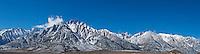 Lone pine peak and Mount Whitney panoramic mountain landscape, Sierra Nevada mountains, California