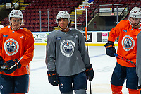 KELOWNA, BC - SEPTEMBER 23:  Joakim Nygard #10, Ethan Bear #74 and Tomas Jurco #92 of the Edmonton Oilers stand on the ice during practice at Prospera Place on September 23, 2019 in Kelowna, Canada. (Photo by Marissa Baecker/Shoot the Breeze)