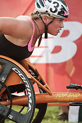 Falmouth Road Race: invitational mile, wheelchair, Jill Moore wins