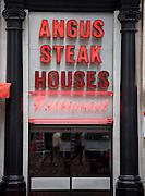 Angus Steak Houses restaurant sign, London, England