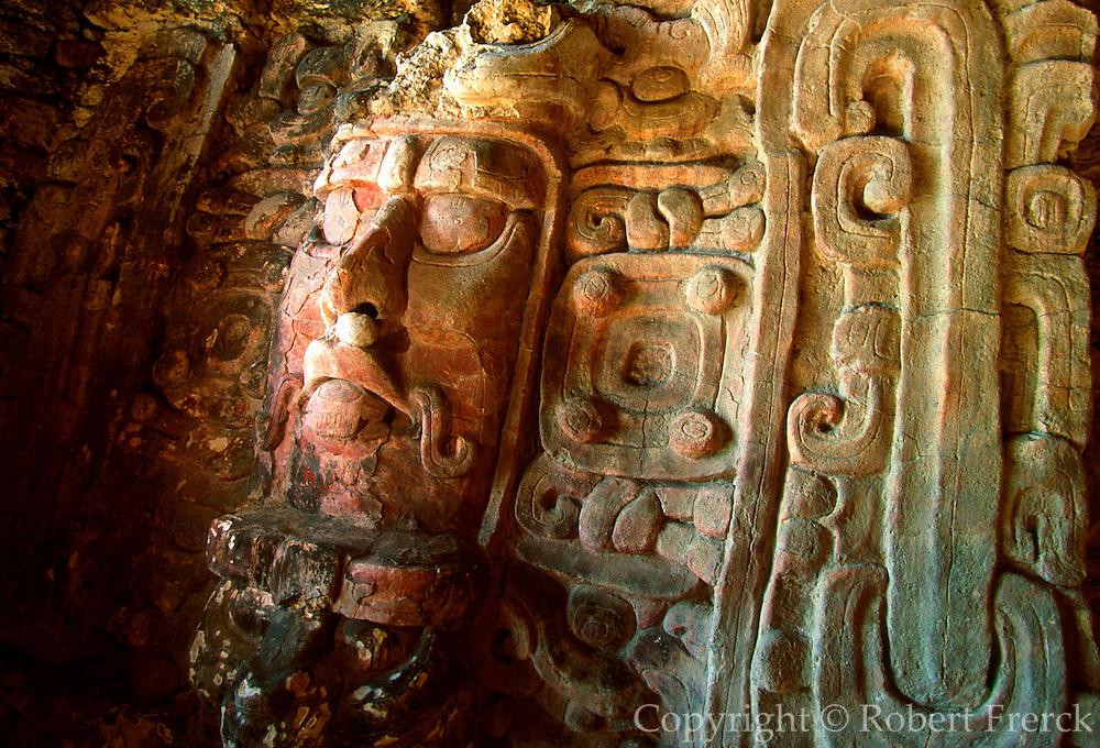 MEXICO, MAYAN, YUCATAN Kohunlich; Pyramid of the Masks