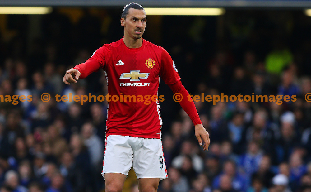 Zlatan Ibrahimovic of Manchester United during the Premier League match between Chelsea and Manchester United at Stamford Bridge in London. October 23, 2016.<br /> Arron Gent / Telephoto Images<br /> +44 7967 642437