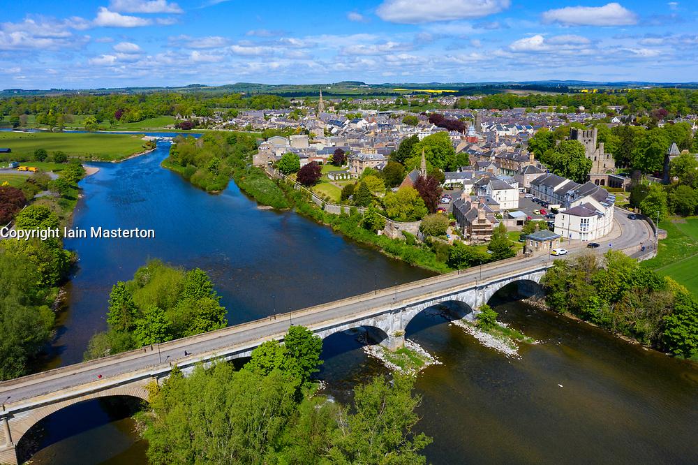Aerial view of town of Kelso beside River Tweed in Scottish Borders, Scotland, UK