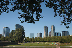North America, United States, Washington, Bellevue, Bellevue Downtown Park, trees around fountain with skyscrapers in distance