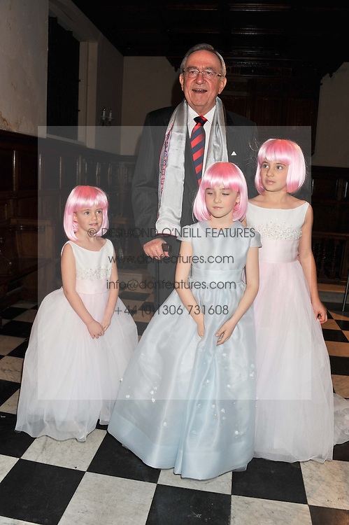 HM KING CONSTANTINE OF GREECE and young models at a fashion show featuring designs from Celia Kritharioti Spring/Summer 2012 collection held at One Mayfair, London on 20th March 2012.
