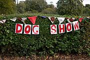 Dog show sign in Highbury Park in Kings Heath Birmingham, United Kingdom.