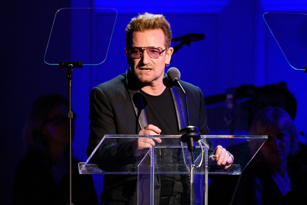 """Photos of Bono of U2 attending the """"It Always Seems Impossible Until It Is Done"""" World AIDS Day event at Carnegie Hall in New York, NY on December 1, 2015. © Matthew Eisman/ Rolling Stone. All Rights Reserved"""