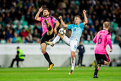 Robert Snodgrass of Scotland vs Roman Bezjak of Slovenia during football match between National Teams of Slovenia and Scotland of Fifa 2018 World Cup European qualifiers, on October 8, 2017 in SRC Stozice, Ljubljana, Slovenia. Photo by Vid Ponikvar / Sportida