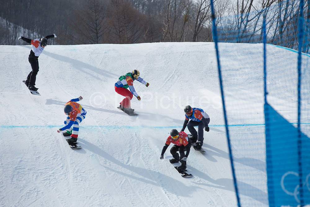Martin Noerl, Germany, leands the pack in the mens boardercross semi-finlas at the Pyeongchang Winter Olympics on 15th February 2018 at Phoenix Snow Park in South Korea