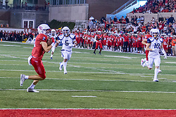 NORMAL, IL - September 04: Austin Nagel wide open and alone near the 10 yard line eyes the end zone after catching a bomb from Bryce Jefferson during a college football game between the Bulldogs of Butler University and the ISU (Illinois State University) Redbirds on September 04 2021 at Hancock Stadium in Normal, IL. (Photo by Alan Look)