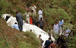 June 28, 2017 - Muree, Punjab, Pakistan - (EDITORS NOTE: Image was created with a smartphone.) Muree passenger coach crashes in 22 passengers injured in Dewal village near mountainous valley of Murree in northern Pakistan the injured were shifted to Pakistan Institute of Medical Sciences  (Credit Image: © Zubair Abbasi/Pacific Press via ZUMA Wire)