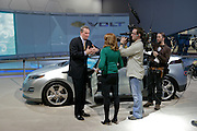 General Motors Chairman and Chief Executive Officer Rick Wagoner is interviewed at the production Chevy Volt display after the GM press conference during Media Week at the North American International Auto Show in Detroit, Michigan, Sunday, January 11, 2009...Wagoner resigned as Chairman and CEO at General Motors on March 29, 2009, at the request of the White House.