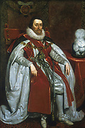 James I (1566-1645)  of England from 1601, James VI of Scotland from 1567. Portrait of 1621 by Daniel Mytens (c1590-1648).
